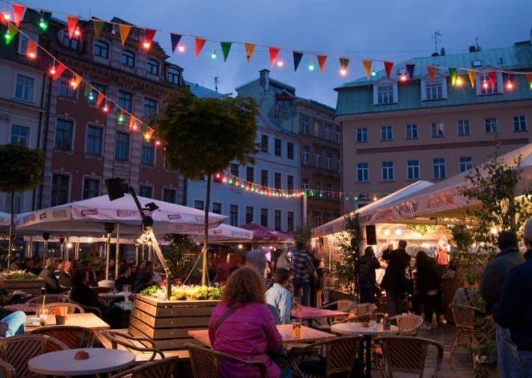 City of Riga historic town square night market